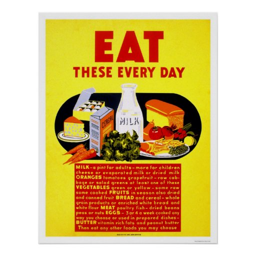 Eat These Every Day 1942 WPA Poster
