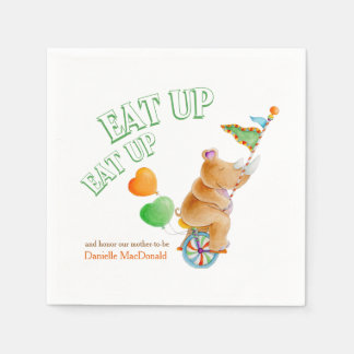 Eat up whimsy unicycle rhino baby shower napkins disposable serviette