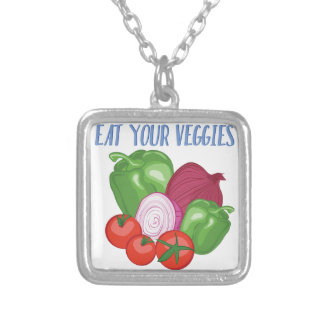 Eat Veggies Silver Plated Necklace