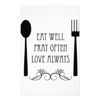 Eat Well Pray Often Love Always Personalised Stationery