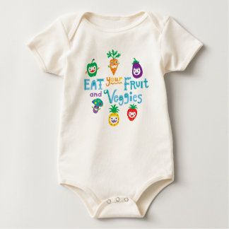 Eat Your fruit and Veggies ll by Andi Bird Baby Bodysuit