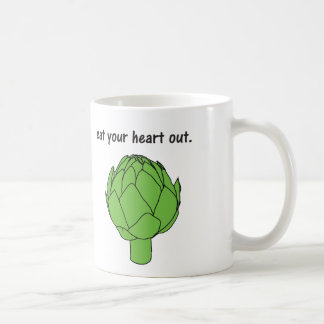 eat your heart out. (artichoke) coffee mug