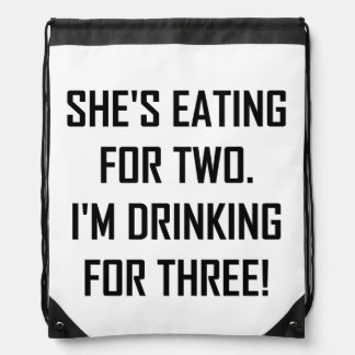 Eating For Two Drinking For Three Drawstring Bag