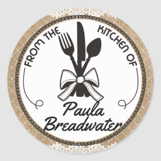 eating utensils bow burlap from the kitchen of round sticker