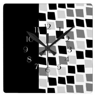 Ebony and Ivory Square Wall Clock