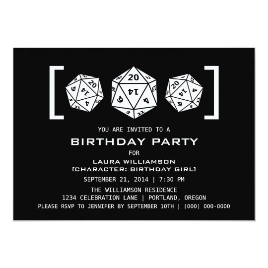 Ebony D20 Dice Gamer Birthday Party Invite