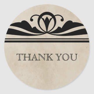 Ebony Elegant Deco Thank You Stickers
