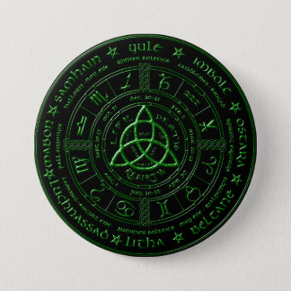 Ebony Emerald Celtic Zodiac Button