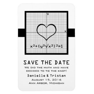 Ebony Heart Math Graph Save the Date Magnet