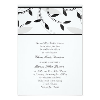 "Ebony Leaf Wedding Invitation 5"" X 7"" Invitation Card"