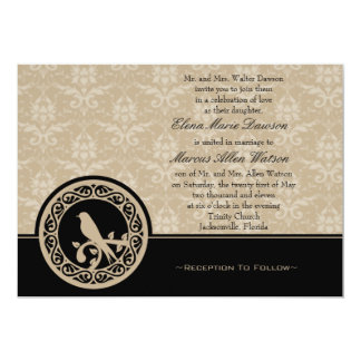 Ebony Lovebird Damask Wedding Invitation