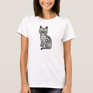 Ebony Silver Color Ocicat Breed Cat Illustration T-Shirt