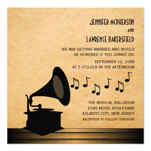 Ebony Vintage Gramophone Wedding Invite