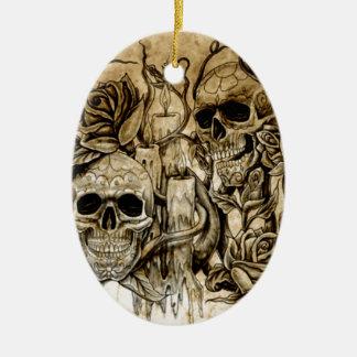 EB's  Skull Designs Ceramic Ornament