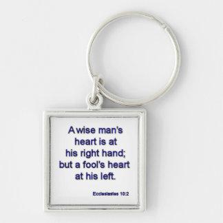 Ecclesiastes10-2 Silver-Colored Square Key Ring