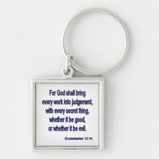 Ecclesiastes12-14 Silver-Colored Square Key Ring