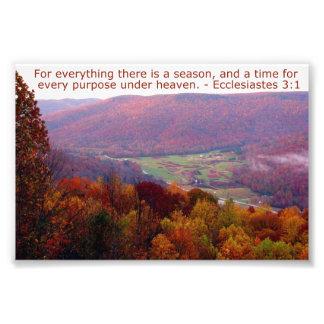 Ecclesiastes 3:1 with Autumn Mountain Scene Photo Print