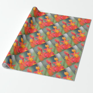 Echeveria Succulent Red and Yellow Flower Wrapping Paper