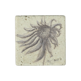 Echinacea Purpurea Watercolor Painting Stone Magnet