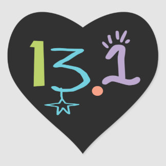 Eclectic 13.1 Half Marathon Theme Heart Sticker