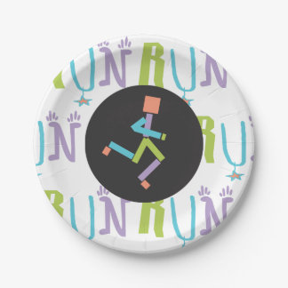 Eclectic RUN Runner Colorful Paper Plates
