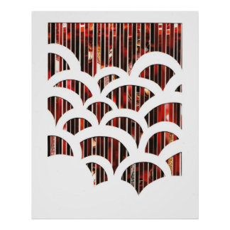 Eco Art Red Scalloped Poster