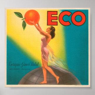 ECO Brand Oranges VIntage Crate Label Poster