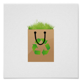 eco brown shopping bag grass recycle.png poster
