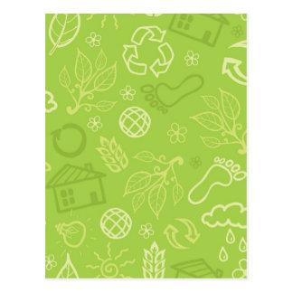 Eco environmental green pattern postcard