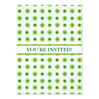 Eco Floral Green Pattern 14 Cm X 19 Cm Invitation Card