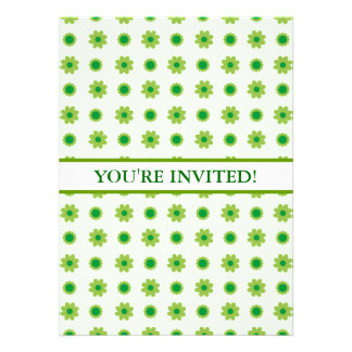 Eco Floral Green Pattern Personalized Announcement