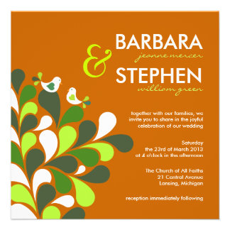 Eco-Friendly Autumn Orange Wedding Invitations