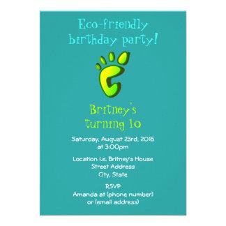 Eco Friendly Birthday Party 13 Cm X 18 Cm Invitation Card