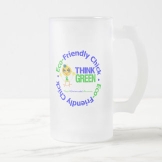 Eco-Friendly Chick Think Green 16 Oz Frosted Glass Beer Mug