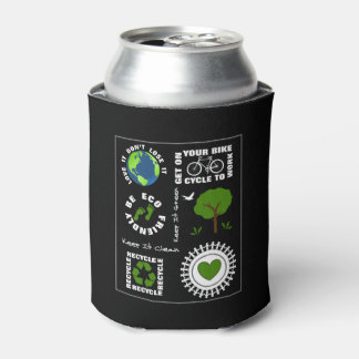 Eco Friendly Go Green Love Planet Earth Themed Can Cooler