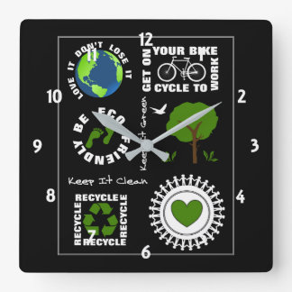 Eco Friendly Go Green Love Planet Earth Themed Square Wall Clock