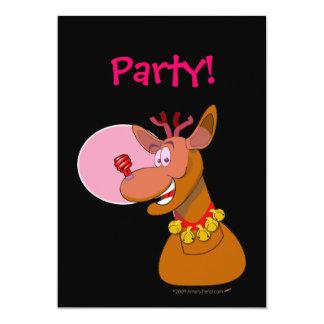 Eco-friendly Reindeer Red CFL Christmas 13 Cm X 18 Cm Invitation Card