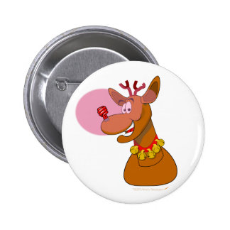 Eco-friendly Reindeer Red CFL Christmas 6 Cm Round Badge
