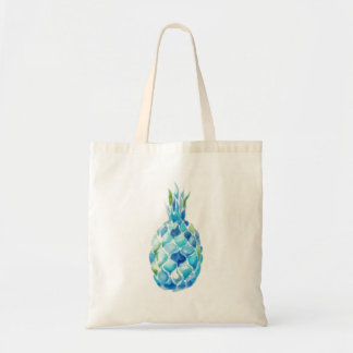 Eco Friendly Tote with Blue Watercolor Pineapple