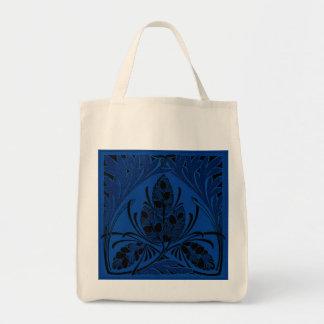 Eco-Friendly Vintage Floral Leaf Blue Reusable Bags