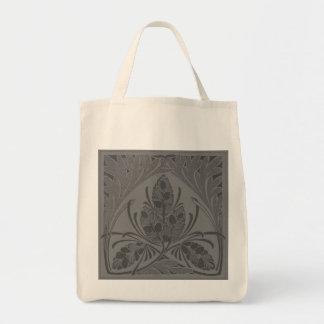 Eco-Friendly Vintage Floral Leaf Charcoal Reusable Tote Bags