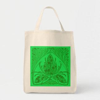 Eco-Friendly Vintage Floral Leaf Green Reusable Canvas Bag