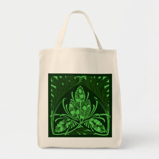 Eco-Friendly Vintage Floral Leaf Green Reusable Canvas Bags