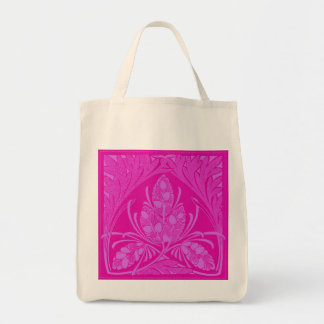 Eco-Friendly Vintage Floral Leaf Hot Pink Reusable Tote Bag