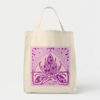Eco-Friendly Vintage Floral Leaf Lavender Reusable Tote Bags