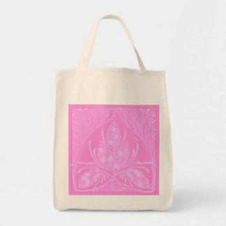 Eco-Friendly Vintage Floral Leaf Pink Reusable Canvas Bags
