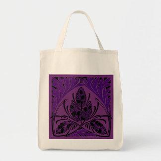 Eco-Friendly Vintage Floral Leaf Purple Reusable Canvas Bags