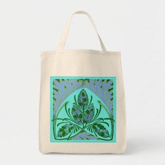 Eco-Friendly Vintage Floral Leaf Teal Reusable Canvas Bags