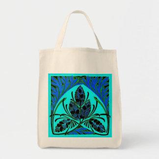 Eco-Friendly Vintage Leaf Blue Green Reusable Bag