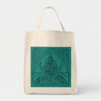 Eco-Friendly Vintage Leaf Turquoise Reusable Canvas Bags